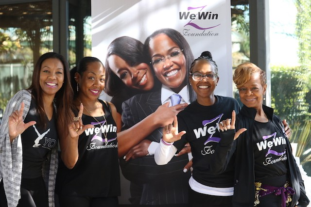 """Tichina Arnold, Zenay Arnold and Gaynelle Dawson throw their L's up at the We Win Foundation's """"Changing the Road"""" event"""