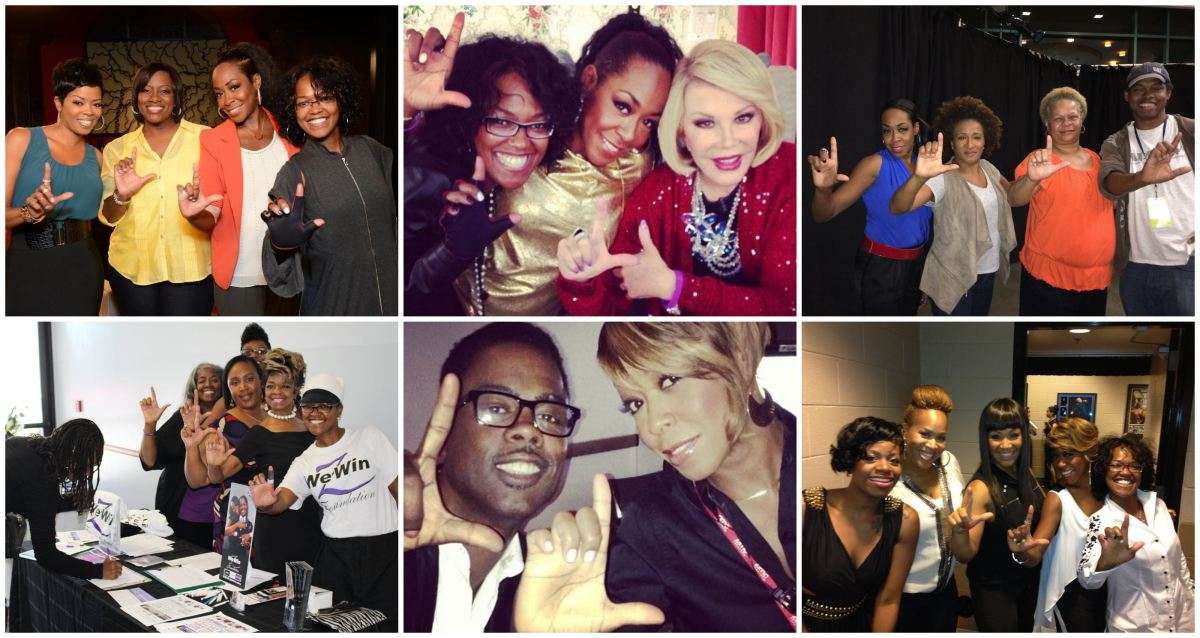 Zenay and Tichina Arnold with people involved in the We Win Foundation