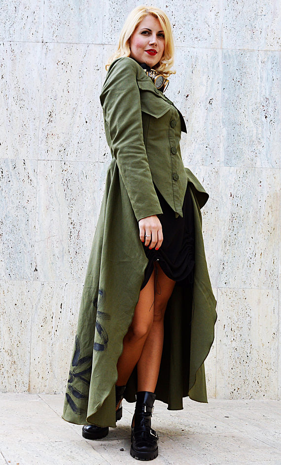 long tail army jacket