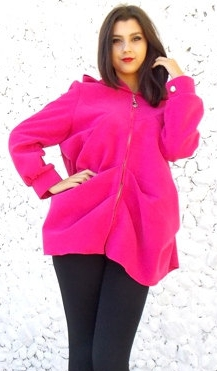 fuchsia hooded coat