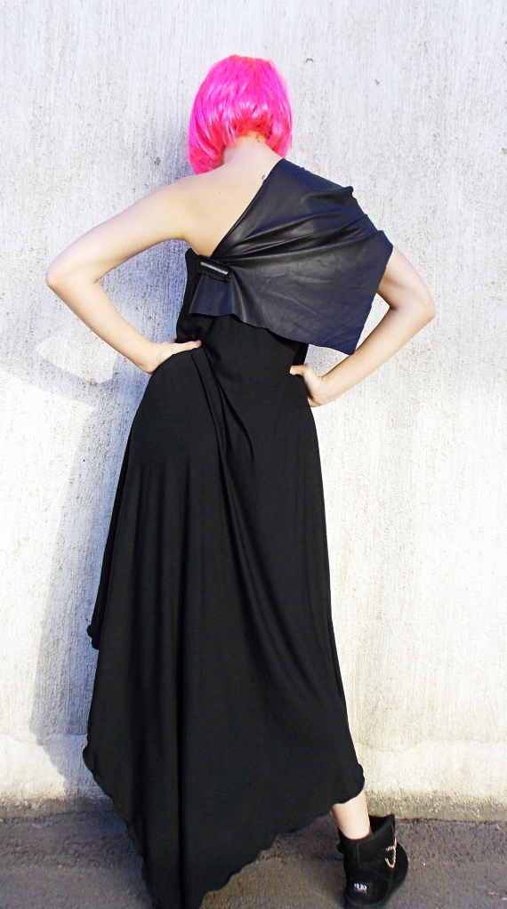 leather inset dress