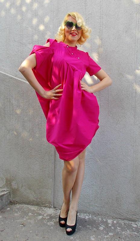 Hot Pink Summer Dress Loose Cotton Short Dress Tdk110 Teyxo