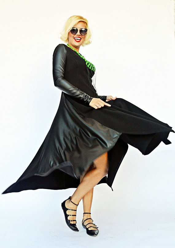 dress with eco leather sleeves
