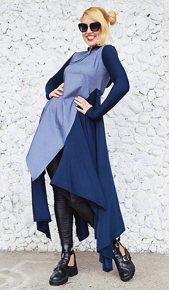 hooded navy dress
