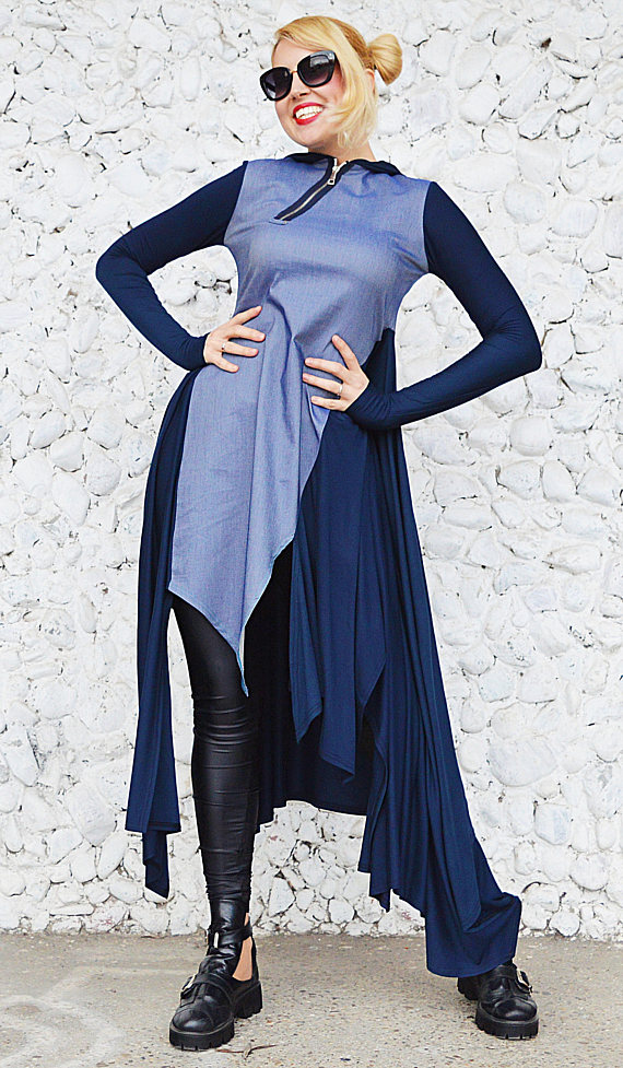 asymmetrical denim dress