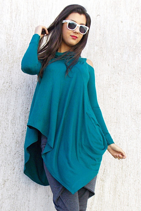 flared teal viscose tunic