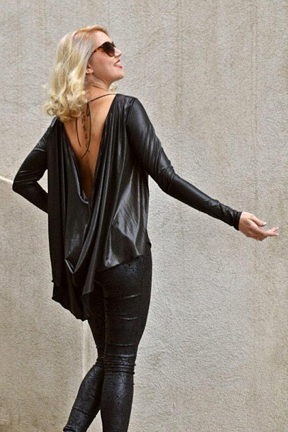 black backless top
