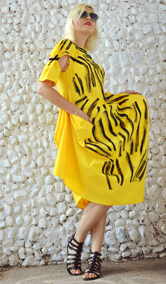 yellow funky dress tdk193 extravagant summer dress teyxo