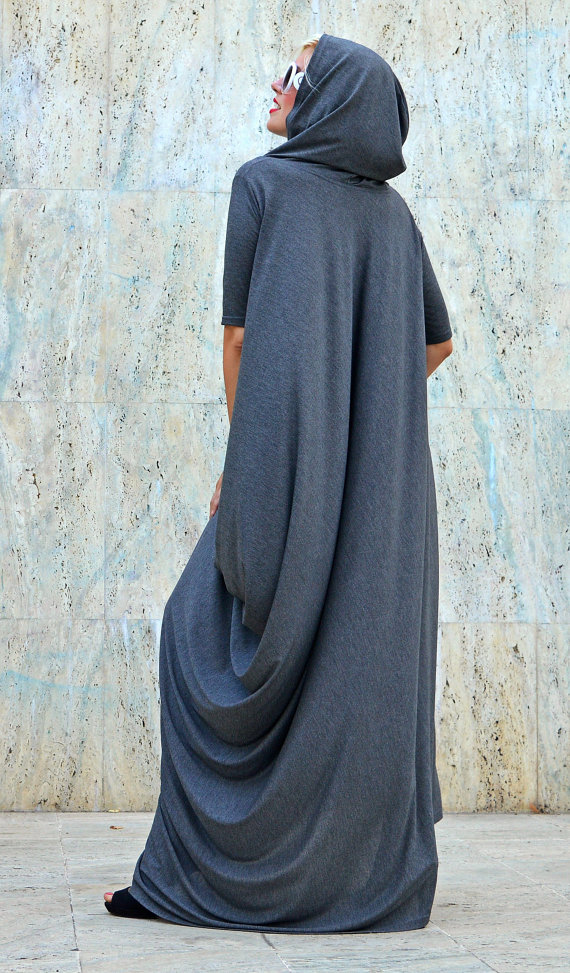 grey hooded dress