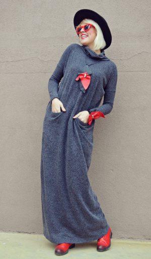 grey long maxi dress