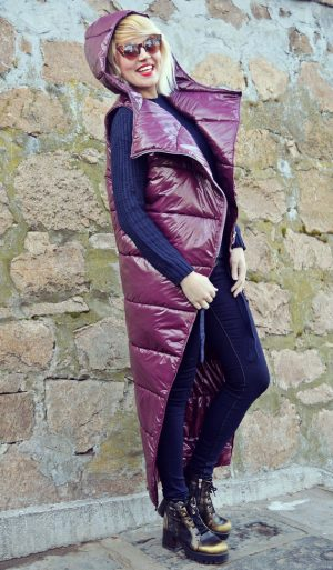 purple padded hooded vest