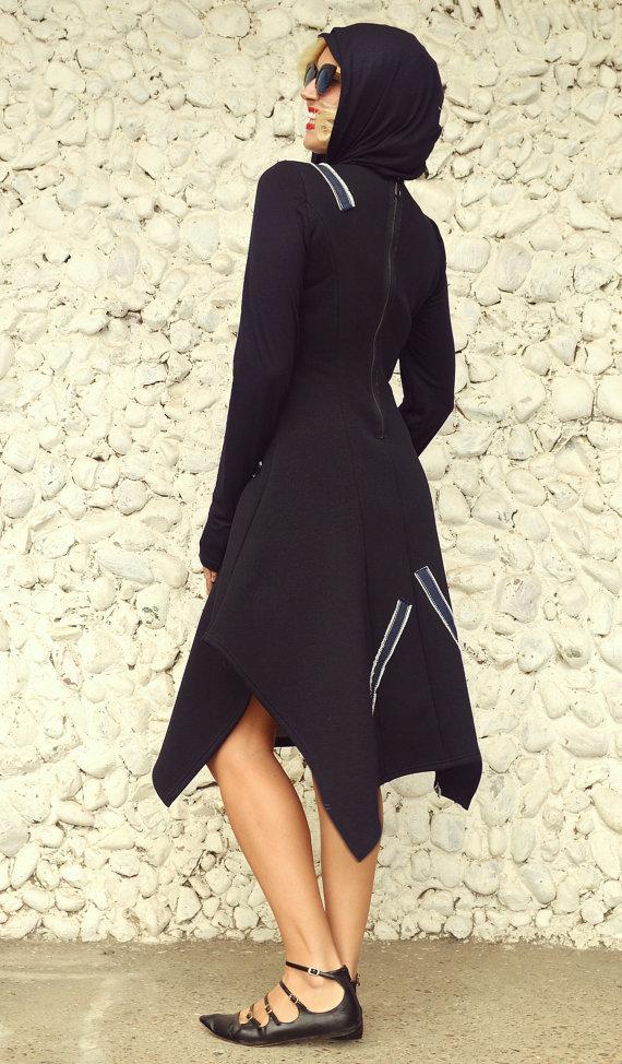 Hooded Navy Dress With Denim Inset Navy Cotton Fleece Maxi Dress