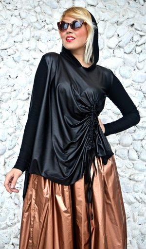 asymmetrical hooded blouse