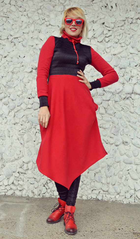 cotton fleece red dress