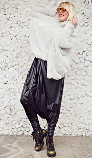 black drop crotch pants