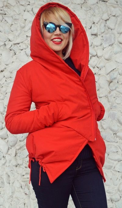 red extravagant padded jacket