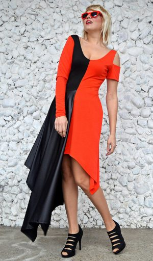 bicolor asymmetrical dress