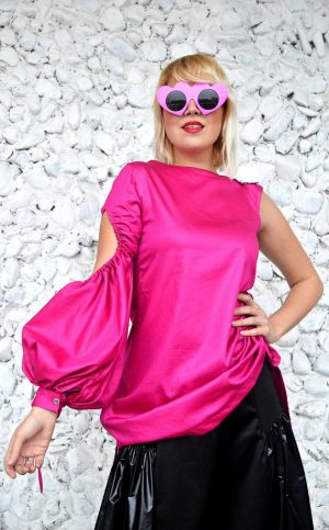 one sleeve hot pink top