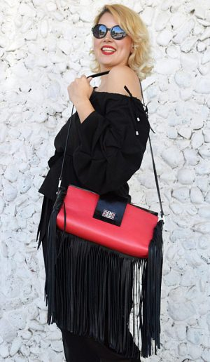 coral leather bag