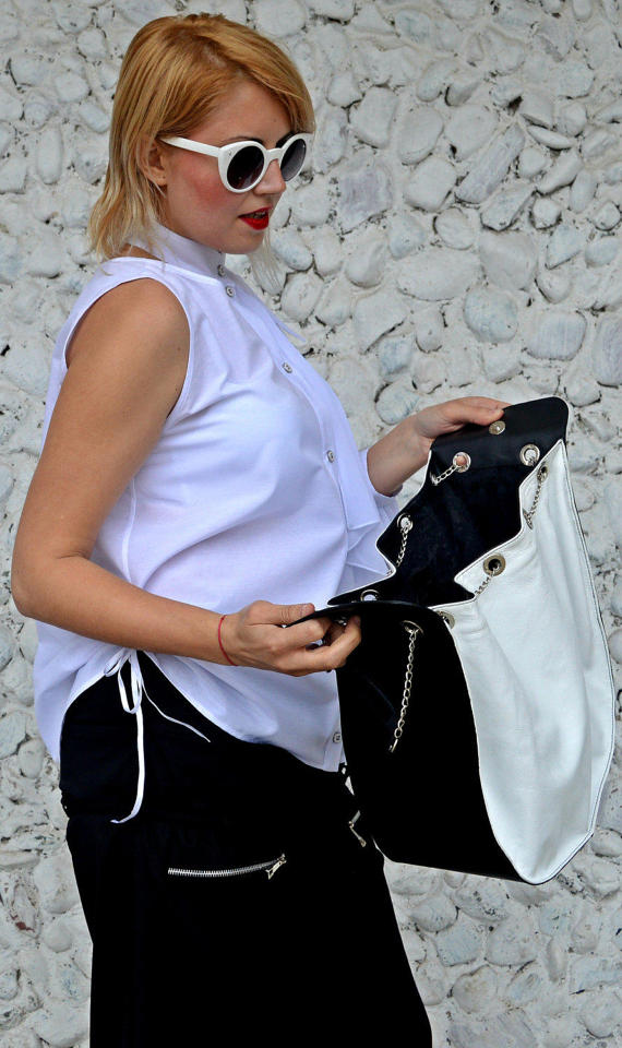 black and white extravagant bag