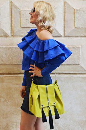 lemon yellow genuine leather bag
