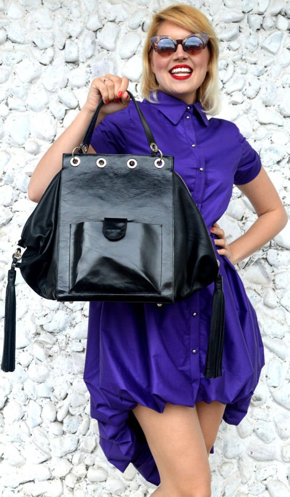 leather black tote with fringes