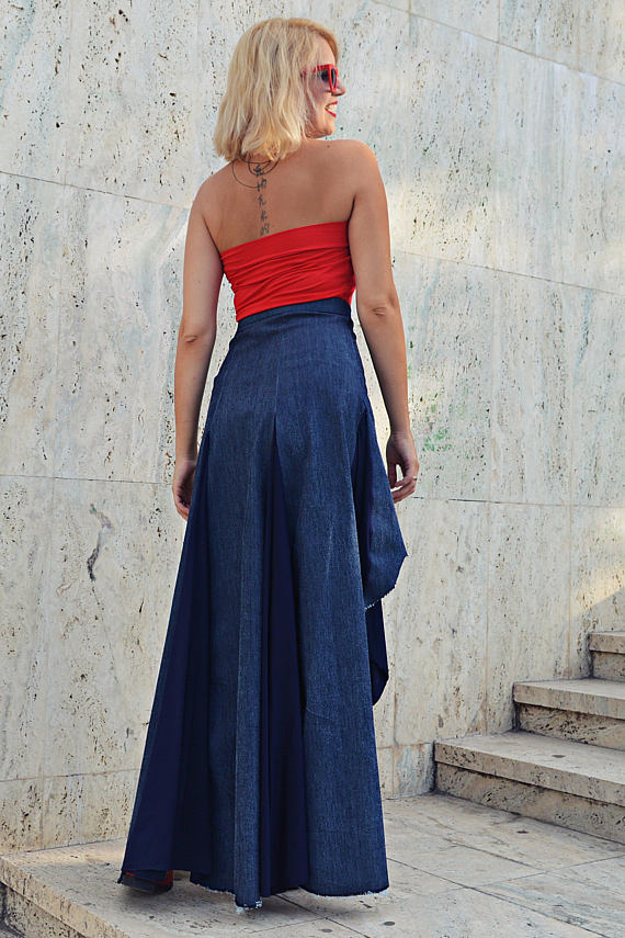 high waist navy skirt