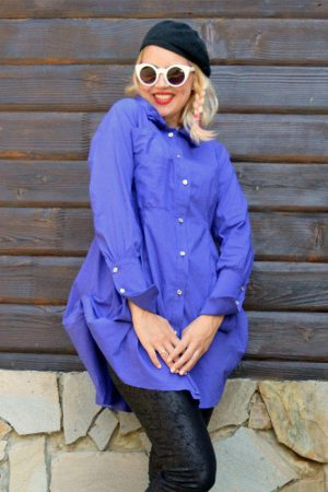 purple french cuff shirt