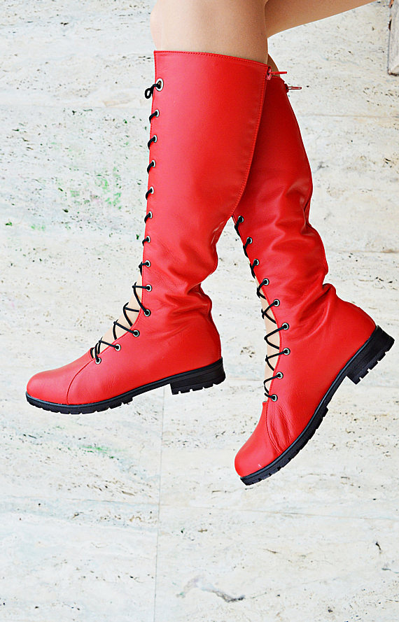 red long boots