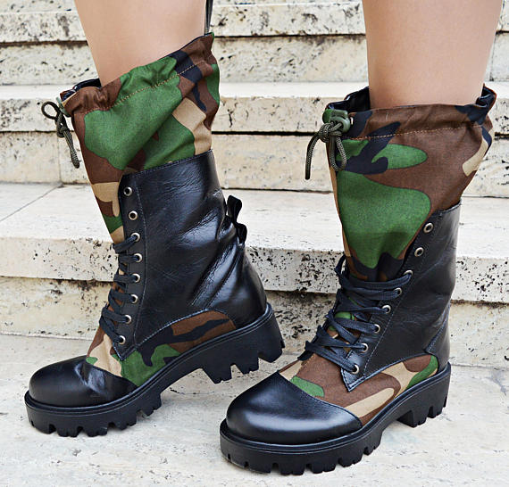 camo leather boots