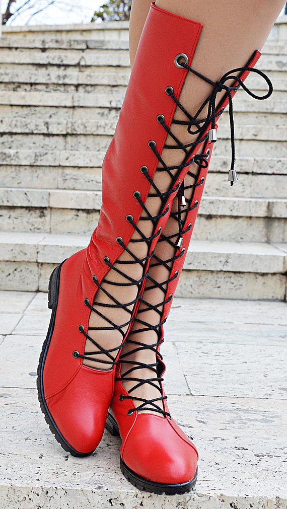 lace long boots