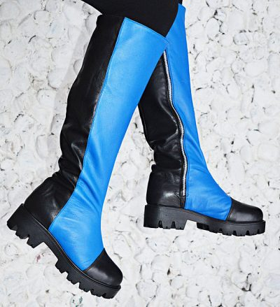 black and blue genuine leather boots