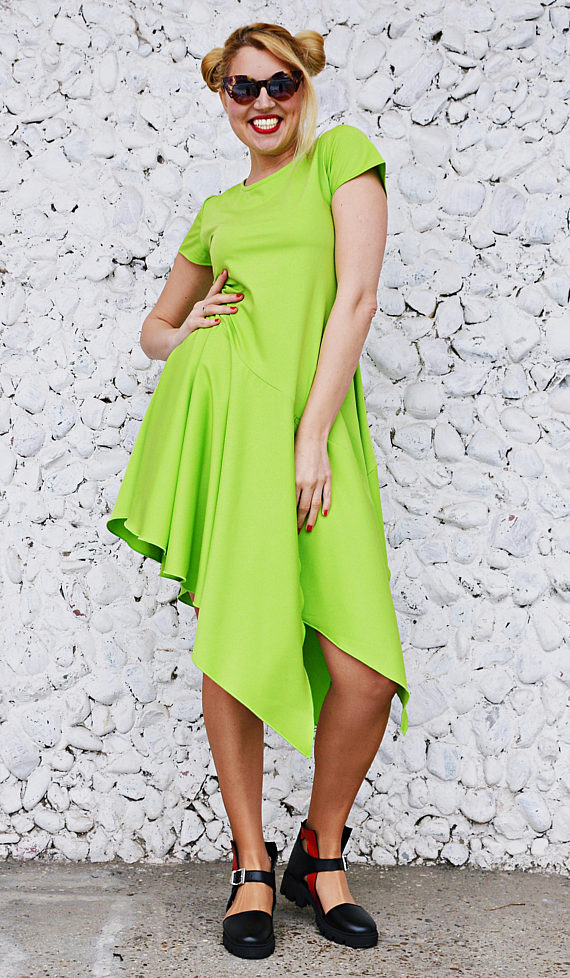 lime asymmetrical dress