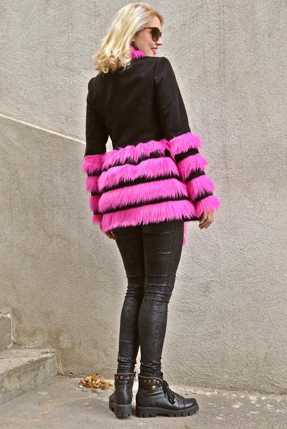 black pink fur coat