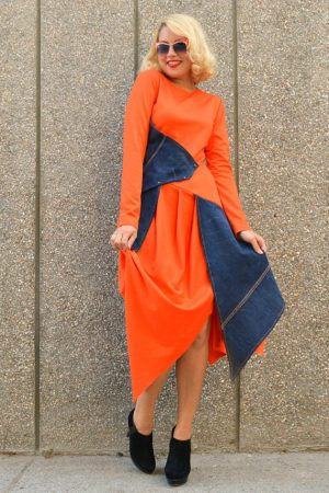 orange dress with denim insets