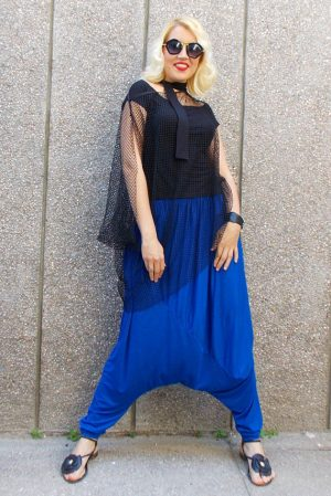 royal blue drop crotch pants