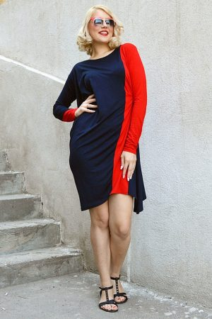 red navy maxi dress