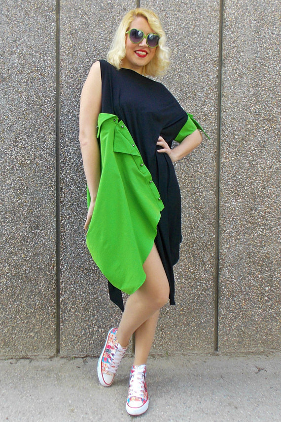 extravagant black dress tdk112 funky black and green dress teyxo