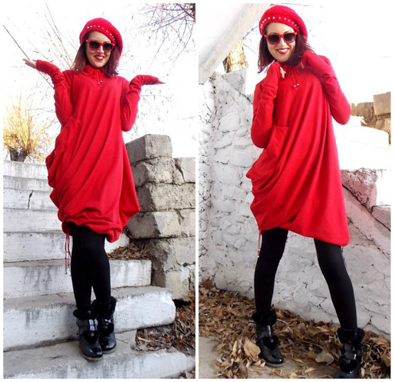 oversize red loose top