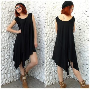 black asymmetrical dress tunic