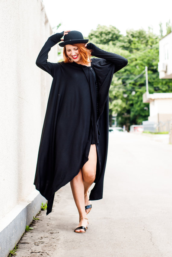 Black Loose Maxi Dress, Extravagant Oversize Dress TDK29