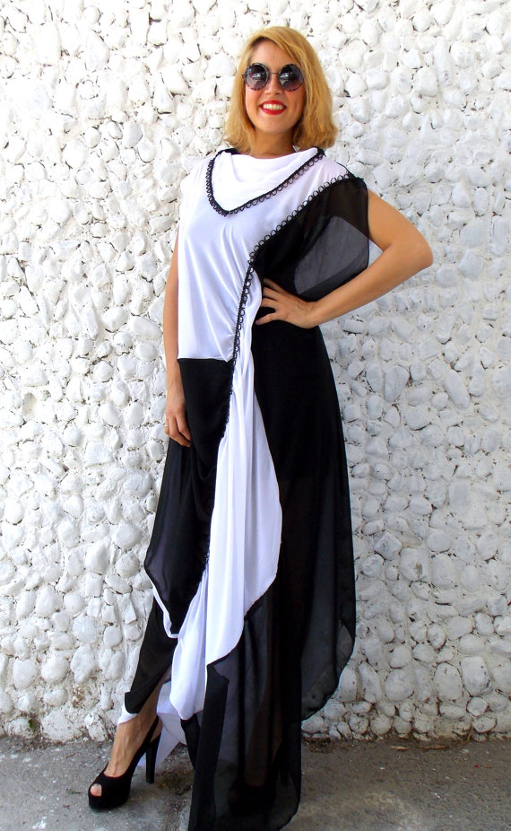 black white chiffon dress