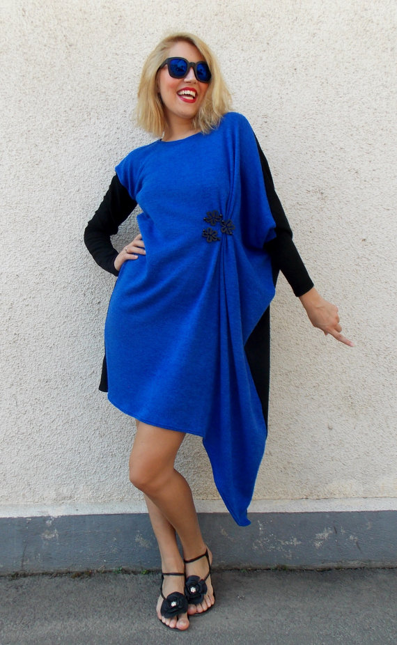 asymmetrical blue dress