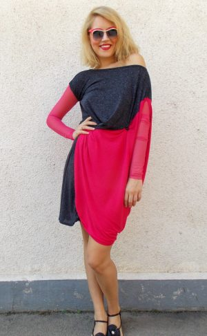 asymmetrical fuchsia dress