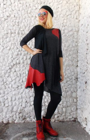 flared anthracite dress