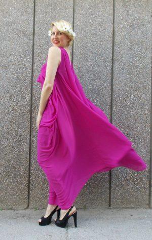 purple chiffon crepe maxi dress