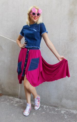 fuchsia denim skirt
