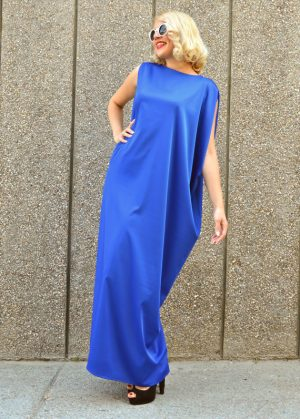 silk blue kaftan