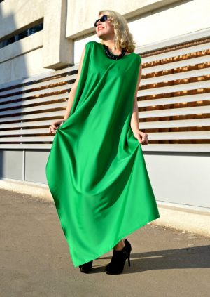 silk green maxi dress