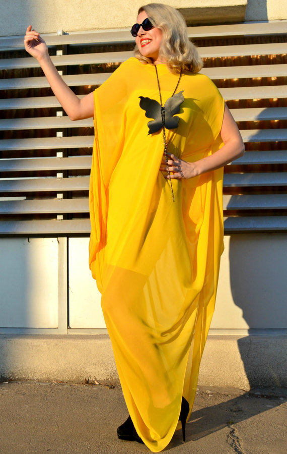 Yellow Maxi Dress, Extravagant Chiffon Dress, Elegant Plus Size Kaftan  TDK161